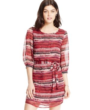 Speechless Juniors' Three-Quarter Sleeve Belted Shift Dress