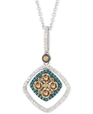 Le Vian White, Chocolate and Blue Diamond Pendant Necklace (5/8 ct. t.w.) in 14k White Gold