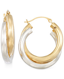 Signature Gold™ Two-Tone Double Hoop Earrings in 14k Gold over Resin