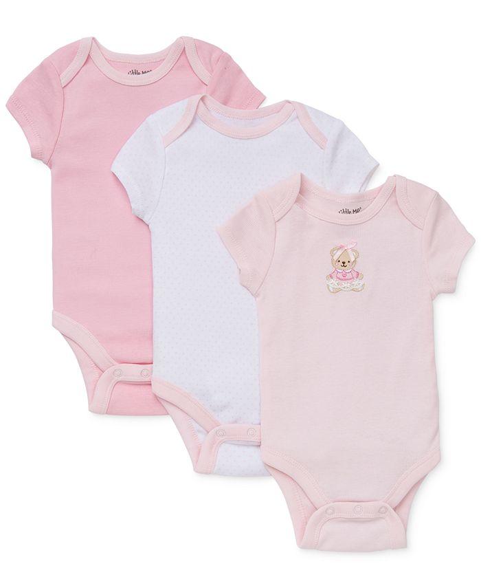 Little Me - Baby Girls' 3-Pack Sweet Bear Bodysuits