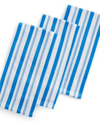 Martha Stewart Collection Set of 3 Basket Weave Cobalt-Striped Kitchen Towels, Only at Macy's