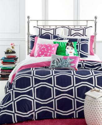 kate spade new york Bow Tile Navy Full/Queen Comforter Set