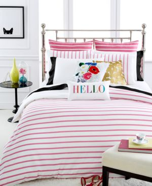 kate spade new york Harbour Stripe Shocking Pink King Duvet Cover Set...