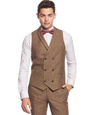 Bar Iii Brown Tweed Slim-Fit Vest Only at Macys $100.00 AT vintagedancer.com