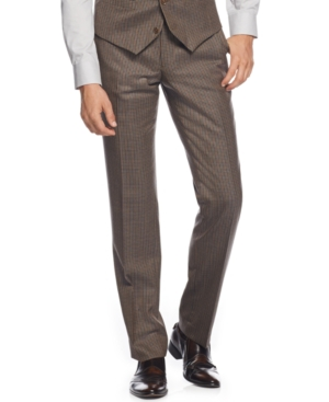 Bar Iii Olive Multi-Check Slim-Fit Pants Only at Macys $59.99 AT vintagedancer.com
