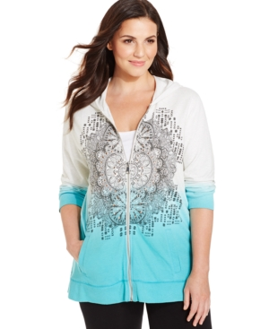 Style & co. Sport Plus Size Ombre Printed Studded Hoodie