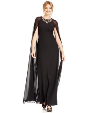 Vince Camuto Jeweled Chiffon Caplet Gown $200.99 AT vintagedancer.com