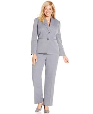 Le Suit Plus Size Two-Button Herringbone Pantsuit