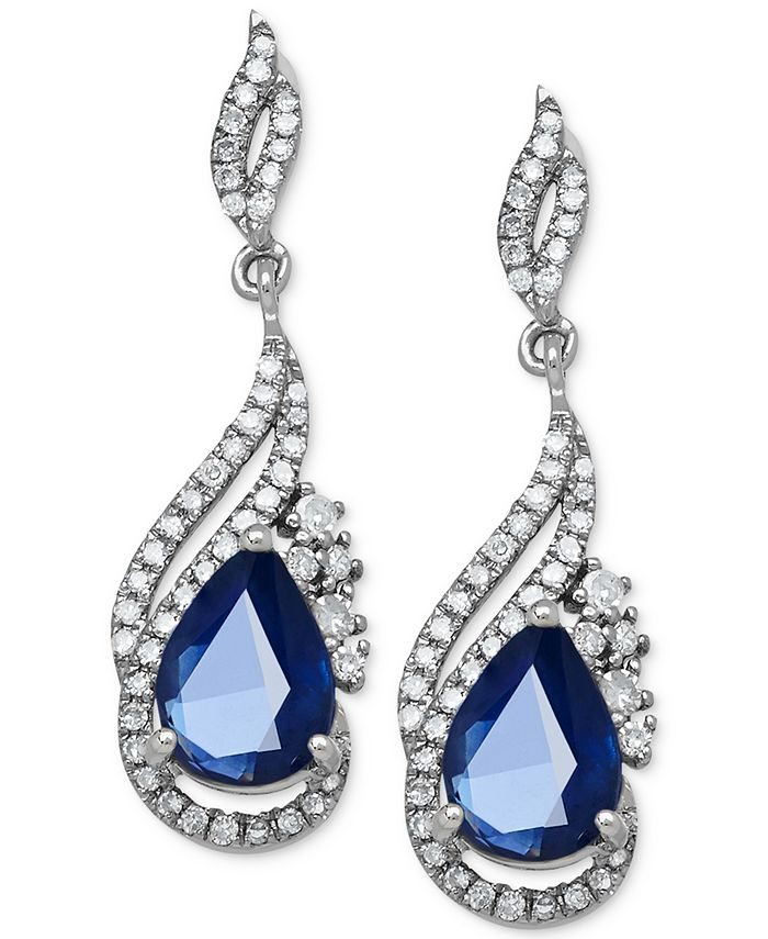 Macy's - Sapphire (1-3/4 ct. t.w.) and Diamond (1/3 ct. t.w.) Drop Earrings in 14k White Gold