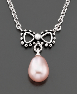 Fresh by Honora Children's Pink Pearl Bow Pendant