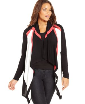 Inc International Concepts Plus Size Colorblocked Cardigan, Only at Macy's