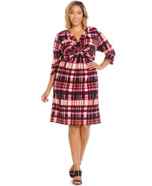 Ny Collection Plus Size Twist-Front Plaid Shift Dress