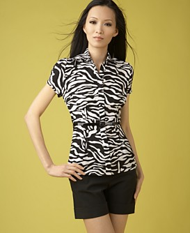 Macy*s - Women's - INC International Concepts® Belted Zebra-Print Shirt :  silk top zebra shirt