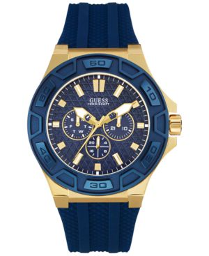 Guess Men's Blue Silicone Strap Watch 44mm U0674G2