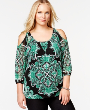 Inc International Concepts Plus Size Printed Embellished Cold-Shoulder Peasant Top, Only at Macy's