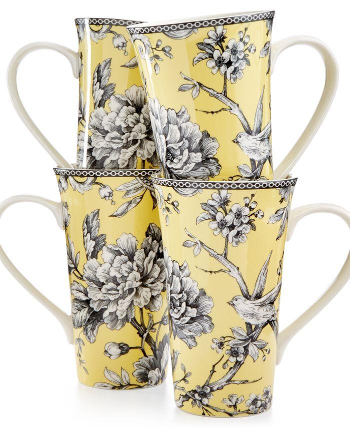 222 Fifth - Fine China 4-Pc. Adelaide Yellow Latte Mugs