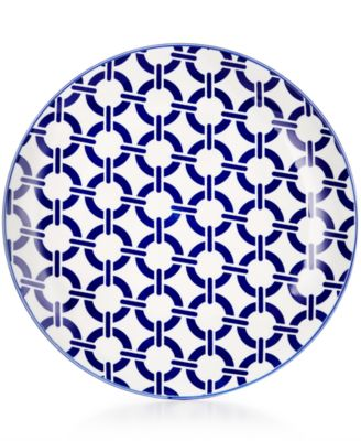 Certified International Chelsea Collection Porcelain Blue Chainlink Dessert Plate