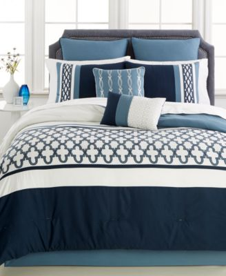 CLOSEOUT! Verona Blue 8-Pc. King Comforter Set