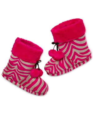 Pj Couture Plush Pink Zebra Slipper Boot with Pom Poms plus size,  plus size fashion plus size appare
