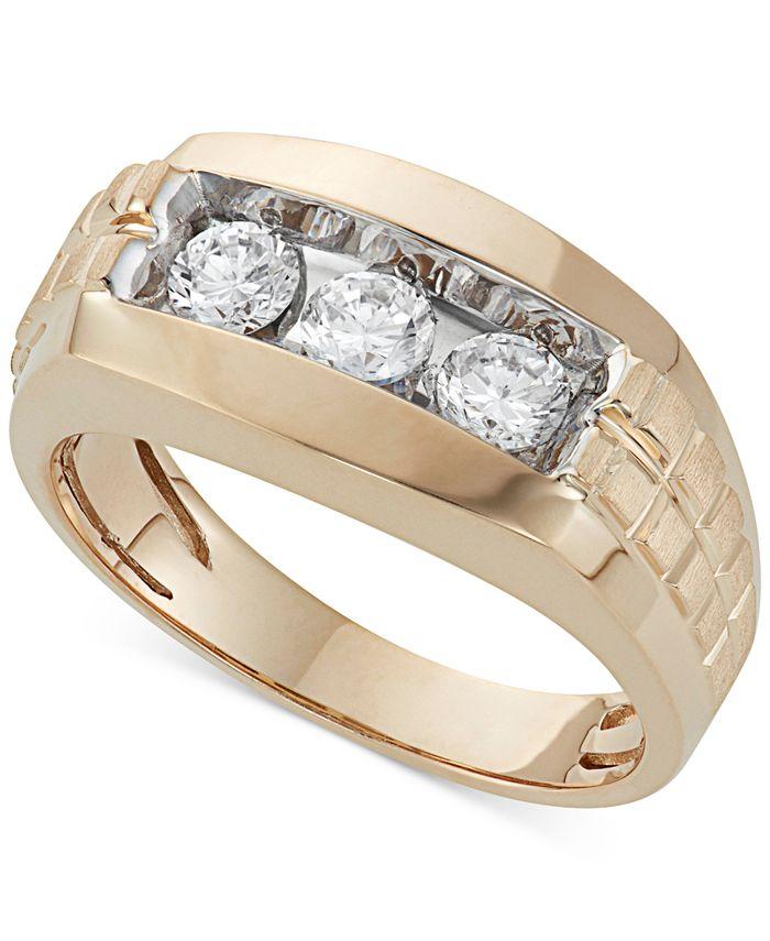 Macy's - Men's Diamond Trinity Ring (1 ct. t.w.) in 10K Gold