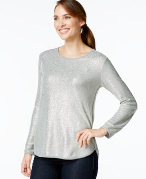 Style & Co. Scoop-Neck Foil-Print Top, Only at Macy's