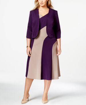 Maya Brooke Plus Size Colorblocked A-Line Dress and Jacket