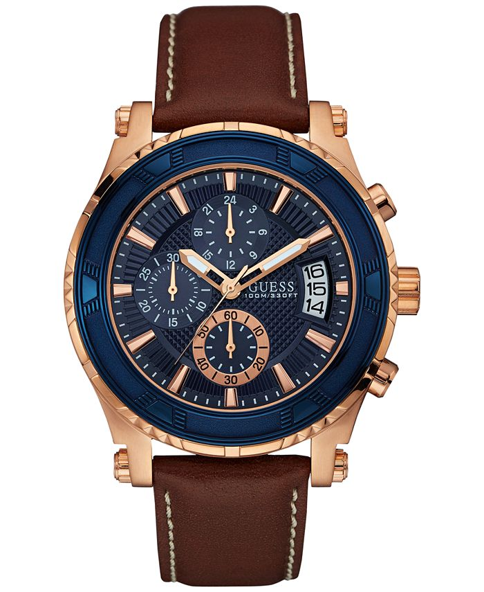 GUESS - Men's Chronograph Brown Leather Strap Watch 46mm U0673G3