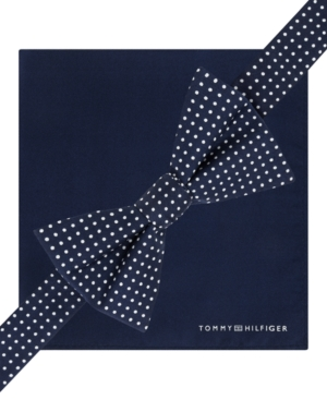 Tommy Hilfiger Micro Dot To-Tie Bow Tie and Solid Pocket Square Set $36.99 AT vintagedancer.com
