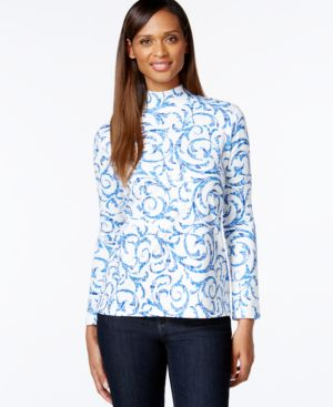 Karen Scott Swirl-Print Mock-Neck Top, Only at Macy's