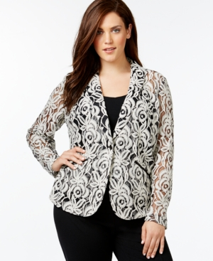 Inc International Concepts Plus Size Shawl-Collar Lace Blazer, Only at Macy's
