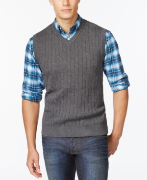 Club Room Solid Cable Sweater Vest Only at Macys $20.63 AT vintagedancer.com