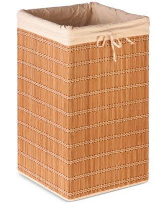 Honey-Can-Do Square Bamboo Wicker Hamper