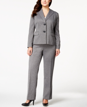 Le Suit Plus Size Two-Button Herringbone Pantsuit