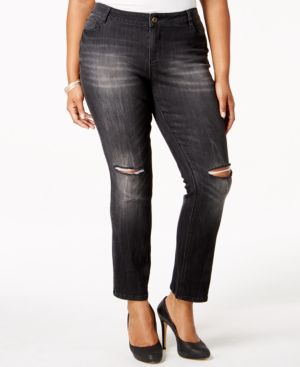 Rocks & Indigo Plus Size Straight-Leg Jeans, Black Wash