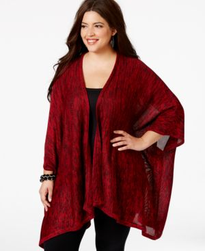 Ny Collection Plus Size Space-Dyed High-Low Poncho Cardigan