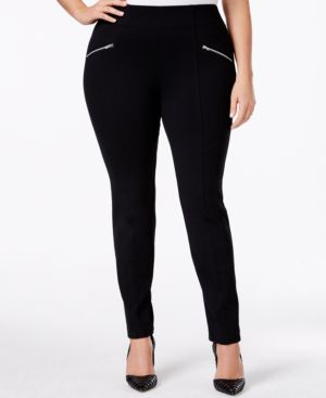 Inc International Concepts Plus Size Pull-On Zipped Faux-Pocket Skinny Pants, Only at Macy's