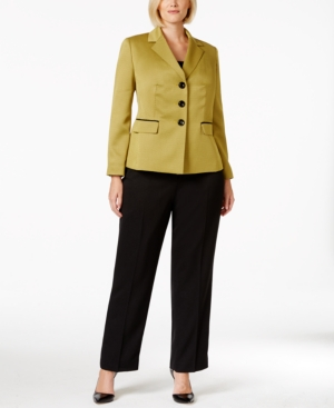 Le Suit Plus Size Three-Button Contrast-Jacket Pantsuit