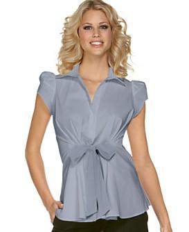 Macy*s - Women's - BCBG Stretch Cotton Poplin Top with Front Tie
