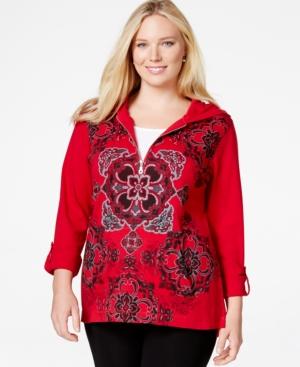 Style & Co. Sport Plus Size Mandala-Print Quarter-Zip Hoodie Sweatshirt, Only at Macy's