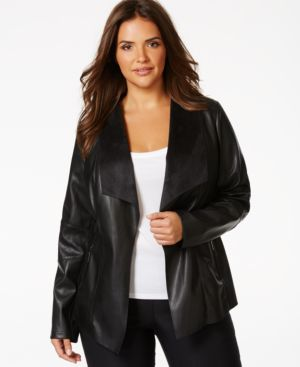Alfani Plus Size Faux Leather Draped-Lapel Jacket, Only at Macy's