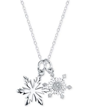 Disney Frozen Diamond Accent Snowflake Pendant Necklace in Sterling Silver