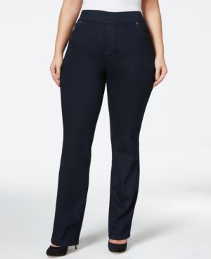 Style & Co. Plus Size Pull-On Straight-Leg Indigo Wash Jeans, Only at Macy's