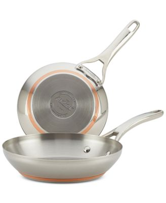 "Anolon Nouvelle Copper Stainless Steel 8"" & 9.5"" French Skillets"