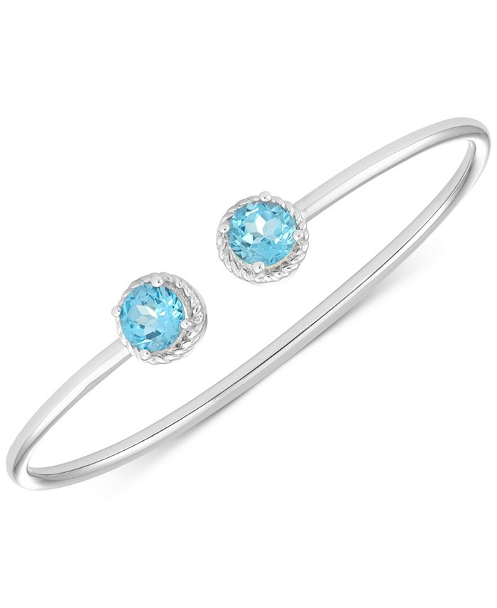 Macy's - Blue Topaz Open Bangle Bracelet (3-1/5 ct. t.w.) in Sterling Silver