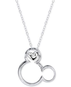 Disney Magical Moment Mickey Heart Pendant Necklace in Sterling Silver