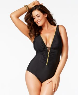 Miraclesuit Plus Size Tummy-Control Zip-Trim One-Piece Swimsuit Women's Swimsuit