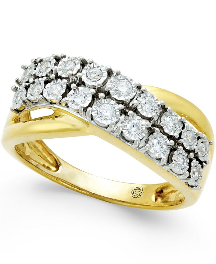Macy's - Diamond Two-Row Crossover Ring (1/4 ct. t.w.) in 10k White or Yellow Gold
