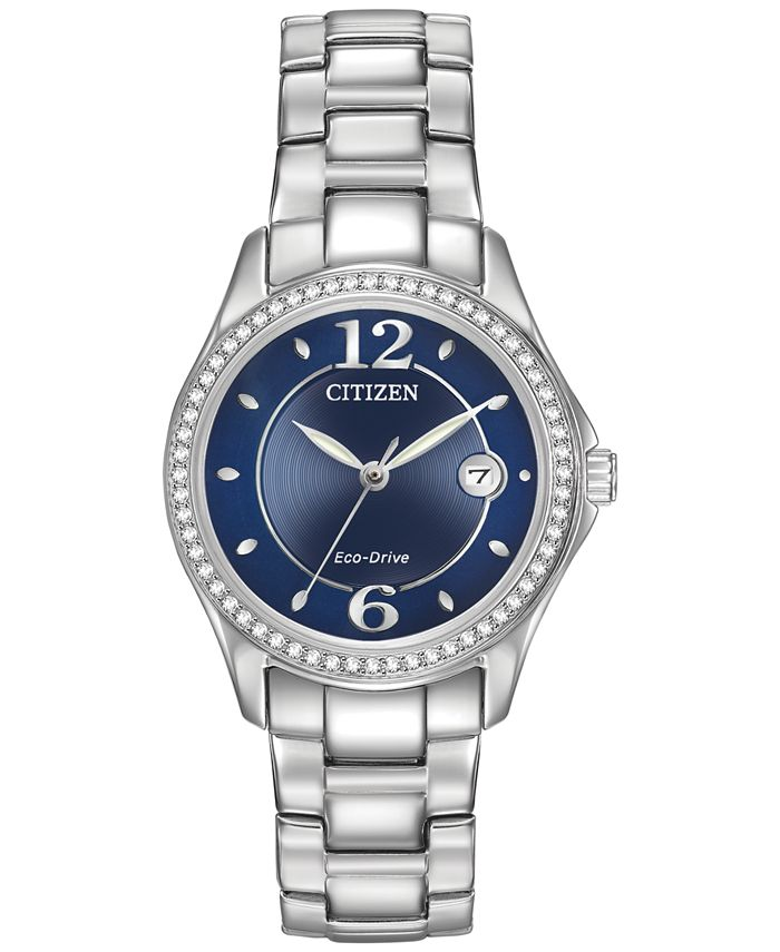 Citizen - Women's Eco-Drive Swarovski Crystal-Accented Stainless Steel Bracelet Watch 29mm FE1140-86L