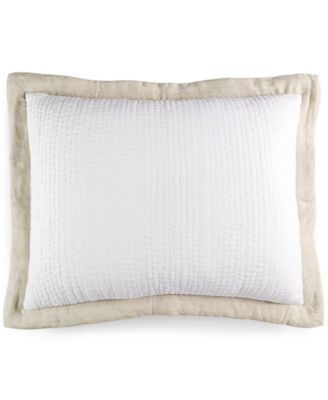 Hotel Collection Linen Natural Quilted Standard Sham