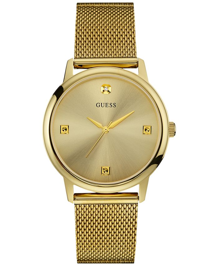 GUESS - Men's Diamond Accent Gold-Tone Stainless Steel Mesh Bracelet Watch 40mm U0280G3